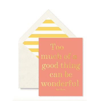 Too Much Of A Good Thing Greeting Card, Single Folded Card or Boxed Set of 8