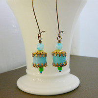 Moroccan Delight Earrings, Aqua Czech Glass, Pale baby Blue, Brass, Green