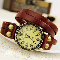 Retro Three Laps Twining Leather Watches