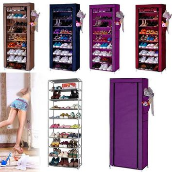 Fashion Online Home 10 Layer 9 Grid Shoe Rack Storage Shelf Organizer Cabinet W/ Cover Pockets L_l - 1945939012