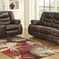 Ashley Furniture 95201-88-94 2 pc linebacker collection espresso colored durablend leather upholstered sofa and love seat set with recliners on the ends