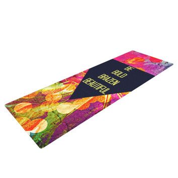 "Ebi Emporium ""Be Bold Brazen Beautiful"" Pink Rainbow Yoga Mat"