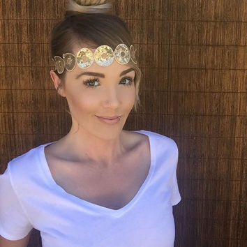 Bohemian Chic Gold Circle Project Runway Sequin Headband w/ Elastic and Ribbon Back