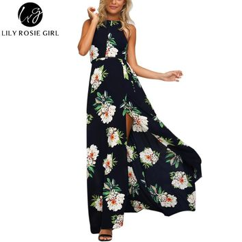 Off Shoulder Boho White Floral Print Maxi Long Dress Women Hollow Out O Neck Autumn Sexy Party Girls Dresses Beach Vestidos