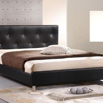 Baxton Studio Barbara Black Modern Bed with Crystal Button Tufting - Full Size Set of