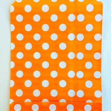 25 Orange Polka Dot favor bags / Treat Bags / Wedding Favor Bags / Birthdays / Party Favor Bags / Polka Dot Paper Treat Bags / Bakery Bags