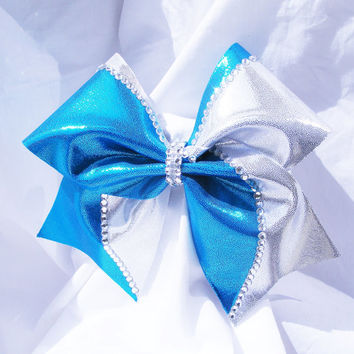 Cheer bow- choose your own colors team bow with or without rhinestones- cheerleading bow, cheerleader bow, softball bow, dance bow, cheerbow