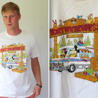 Sale vintage 1980s Disney T shirt. Men M / L. 80s Disney Fort Wilderness white graphic tee. Disneyana collectible. Mickey Mouse Minnie Mouse