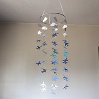 Airplane, Clouds, Stars hanging paper mobile! Baby nursery mobile, Green ombre Crib Mobile. Teen/Tween mobile. Birthday decor, photo prop