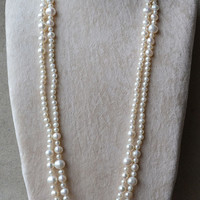 long pearl necklace,60 inches 5-11mm white pearl necklace,freshwater pearl necklace,free shipping