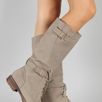 Taylon-2 Lace Up Military Knee High Boot