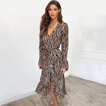 Long Dresses 2019 Women Zebra Print Beach Bohemian Maxi Dress Casual Long Sleeve V Neck Ruffles Elegant Party Dress Vestidos