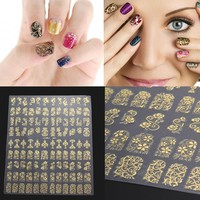 108Pcs/Sheet 3D DIY Nail Stickers Golden Silver Pink Flower Design Nail Art Stickers Decal Manicure Nail Tips Design Decal