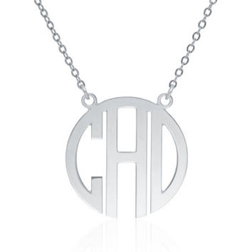 Monogram Necklace 1 inch- Silver Personalized Necklace Monogrammed Necklace bridesmaid gift