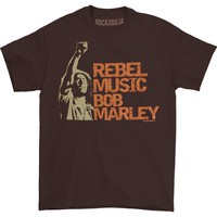 Bob Marley Men's  Rebel Music T-shirt Brown