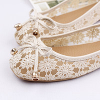 Sexy lace embroidery see through nude bride ballet flat slip on womens shoes