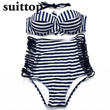 Bikini 2017 Summer New Sexy Solid And Stripped Bikinis Push Up Swimwear Women Swimsuit 4 Colors High Waist Swimsuit