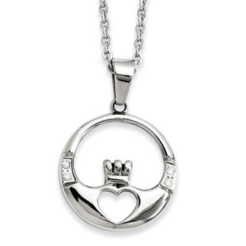 Stainless Steel Claddagh with CZs Pendant Necklace
