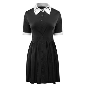 2018 Women Moon Print Gothic Vintage Short Sleeve Turn-Down Collar Black Dress Punk Harajuku Darkness Goth Vestdios Plus Size