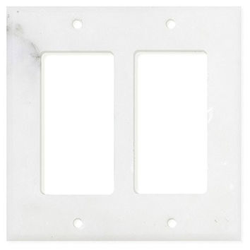 Italian Calacatta Gold Marble Double Rocker Switch Wall Plate / Switch Plate / Cover - Polished