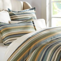 LOGAN STRIPE DUVET COVER & SHAM - BLUE