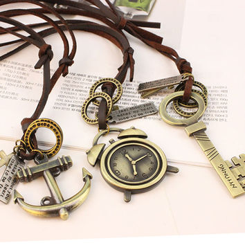 Retro Ethnic Leather Rope Chain Vintage Bronze Feather Anchor Necklace for Women Girl Personality Cool Jewelry