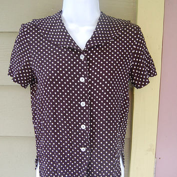 Vintage 80s Black & White Polka Dot Sailor Collar 40s Inspired Liz Claiborne Blouse Shirt Top Size Small