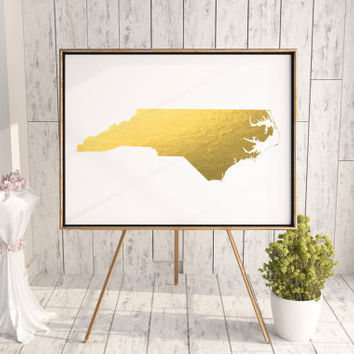 North Carolina or ANY STATE Map Custom Personalized Wall Art Gift Souvenir Gold Foil Series I Love Raleigh USA Map Print Gold Foil Landscape