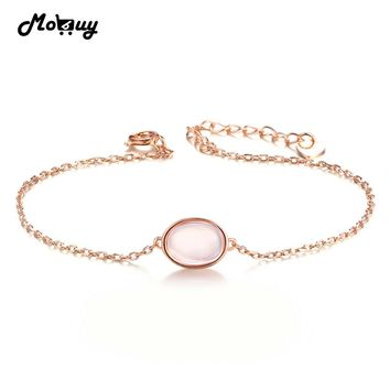 MoBuy MBHI023 Pink Natrual Gemstone Oval Rose Quartz Fine Bracelets &Cuff 925 Sterling-Silver-Jewelry Rose Gold Plated For Women
