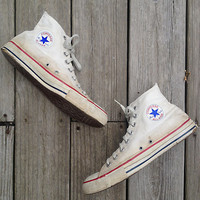 """Vintage shoes   Vintage 1990s natural white Converse high tops Chuck Taylor """"Made in the USA"""""""