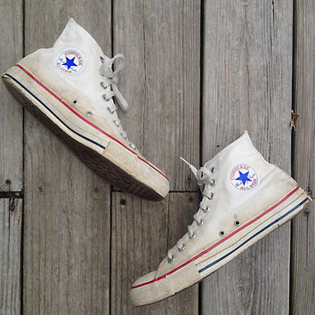 "Vintage shoes | Vintage 1990s natural white Converse high tops Chuck Taylor ""Made in the USA"""