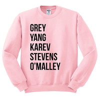 Crewneck Sweater - Grey Yang Karev Stevens O'Malley - Thursdays We Watch Grey's A Beautiful Day To Save Lives