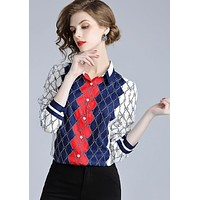 GUCCI Popular Women Casual Retro Print Long Sleeve Lapel Shirt Top