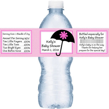 Colorful Umbrella Baby Shower Personalized Water Bottle Labels
