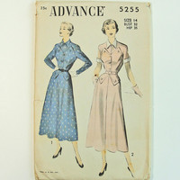 1950s Size 14 Advance 5255 Dress Sewing Pattern - Vintage Collar, Cuffs, Long or Short Sleeves - Retro Mad Men Style
