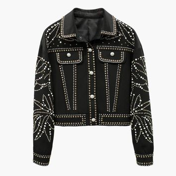 HIGH STREET New Fashion 2018 Designer Jacket Women's Luxurious Strass Beaded Denim Jacket Coat