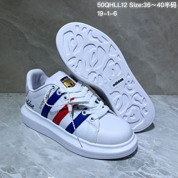 HCXX A519 Adidas Superstar Leather Casual Shoes White Blue Red