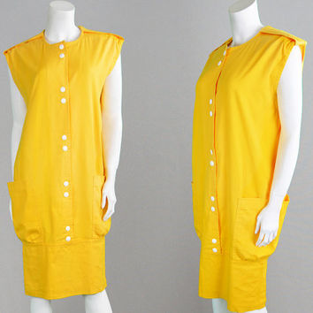 Vintage 70s PIERRE CARDIN Mustard Yellow Mod Dress Space Age Dress Shift Dress Oversized Dress Tent Dress Futuristic Dress 1970s Dress Gogo