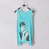 Breakfast at Tiffany's - Audrey Hepburn - Tiffany Blue - Women Tank Top - Sides Straight