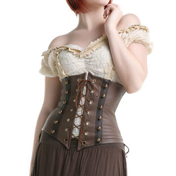2017 Sexy Gothic Steampunk Faux Leather Corset Underbust Brown Body Shaper Corselet Bustier Corsage Lace Front For Women S-XXL