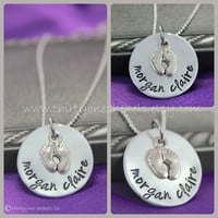 """Personalized Necklace, hand stamped necklace, Mommy necklace, Personalized Pregnancy Necklace, 1"""" (Lg) necklace"""