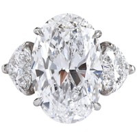 7.82 Carat D Flawless Oval and Heart Diamond Ring GIA Certified Type 2a