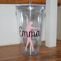 Ballet Dancer Ballerina Vinyl BPA free insulated straw tumbler cup travel mug personalized for you discounts for orders of 4 or more