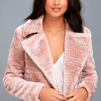 Cozy Business Blush Pink Faux Fur Moto Jacket