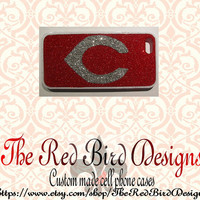Glitter Sparkly Cincinnati Reds iPhone 4/4S OR 5 Cell Phone Case