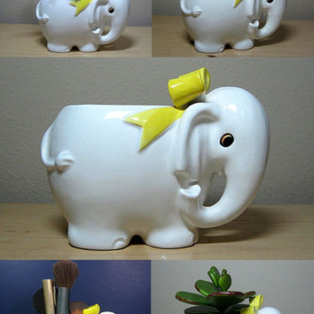 Ceramic Elephant Planter White Multi Uses 1980s Vintage