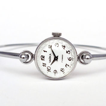 Mechanical Watch Bracelet CHAIKA. Mint Condition Watch Bracelet For Women. Retro Style Ladies Watch Bracelet. Silver Tone Womens Watch 80s