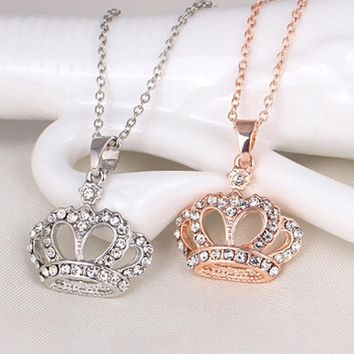New 2018 Queen King Crown Necklace Rose Gold&Silver Color Choker Pendant Shiny Rhinestone Women Jewelry Crystal Wedding Gifts