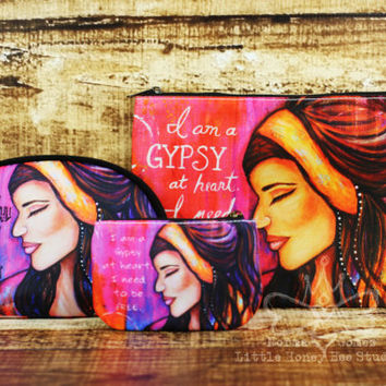 Pink Gypsy Coin Purse, Change Purse, Credit Card Holder, Bohemian Bag, Hippie Art, Whimsical Art - Small Gifts for Her - Bohemian Gypsy Art
