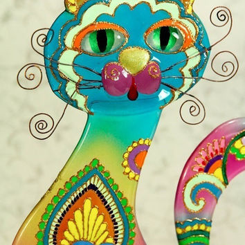 Handmade RAINBOW CAT glass fusing techniques gift lovers mothers sister family amulet talisman